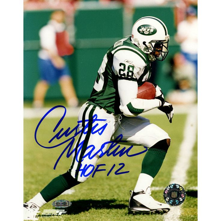 Curtis Martin Jets Signed Side View Running 8x10 Photo w/ 'HOF 12' Insc.
