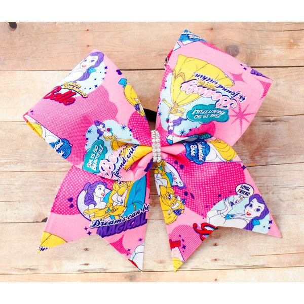 Beauty and the Beast Cheer Bow Disney Cheer Bows Cheer Bows Character... ($14) ❤ liked on Polyvore featuring accessories, hair accessories, silver, ties & elastics, elastic hair ties, ponytail ties, ponytail hair ties, hair ties and rhinestone hair accessories