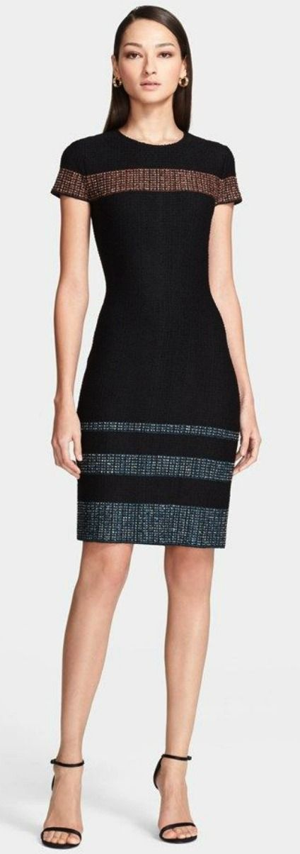 St. John Jewel Neck Tweed Stripe Knit Dress | Nordstrom. LOVE this dress. Perfect for work!