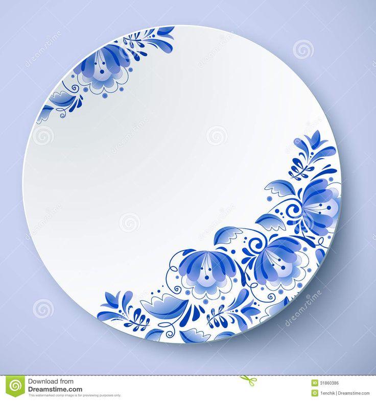 Russian Gzhel ornaments & patterns. white-vector-plate-russian-ornament-gzhel-style-31860386.jpg (1300×1390)