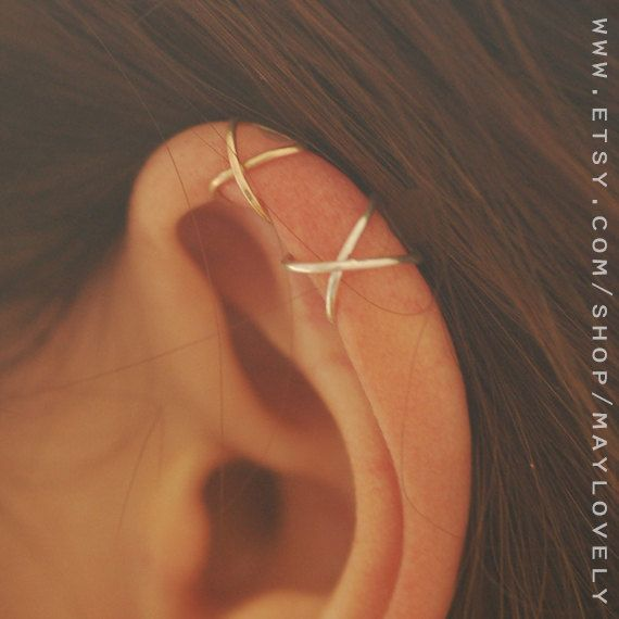 Criss Cross ear cuff, Ear Cuff No Piercing, Faux Septum Ring, fake lip Fake Septum Ring, Clip On Septum Cuff, Faux Ring, Gift Under 15