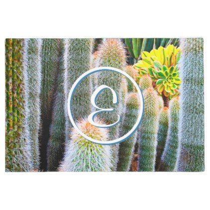 #Fuzzy green cacti photo custom monogram doormat - #doormats #home & #living