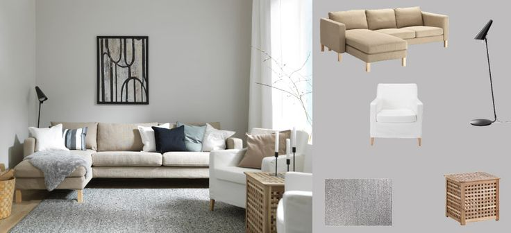 ikea karlstad 3 zitsbank en chaise longue, basnas vloerkleed, stockholm leeslamp