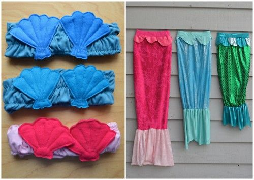 DIY Mermaids' Tops and Tails. A mermaid's tail you can walk in.Seriously, what little girl wouldn't want a shimmery mermaid costume? Cute tutorial from ikatbag here.