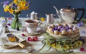 Обои цветы, торт, гиацинт, чай, букет, примула, бант, нарцисс