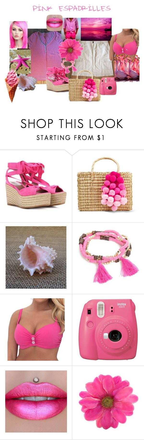 """Greenchic in Pink Espadrilles Beach"" by greenchicdesignz ❤ liked on Polyvore featuring Tabitha Simmons, Nannacay, New Directions, Curvy Kate, Fujifilm, Lime Crime and NOVICA"