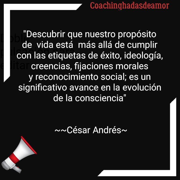 """César Andrés Coachinghadasdeamor  """"Descubrir que nuestro propósito de  vida está  más allá de cumplir con las etiquetas de éxito, ideología, creencias, fijaciones morales y reconocimiento social; es un significativo avance en la evolución de la consciencia""""    ~~César Andrés~"""