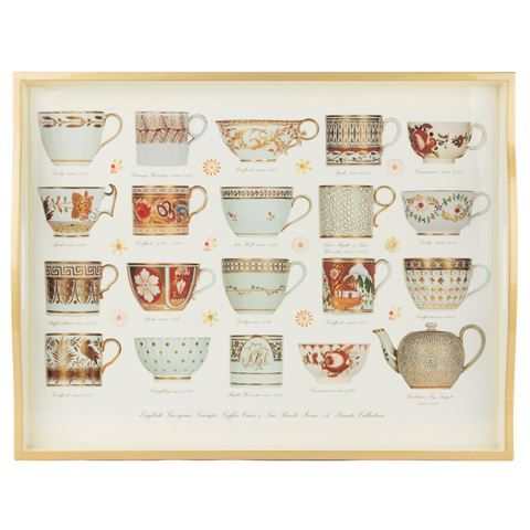 Whitelaw & Newton - Gold On White Antique Cups Large Tray | Peter's of Kensington