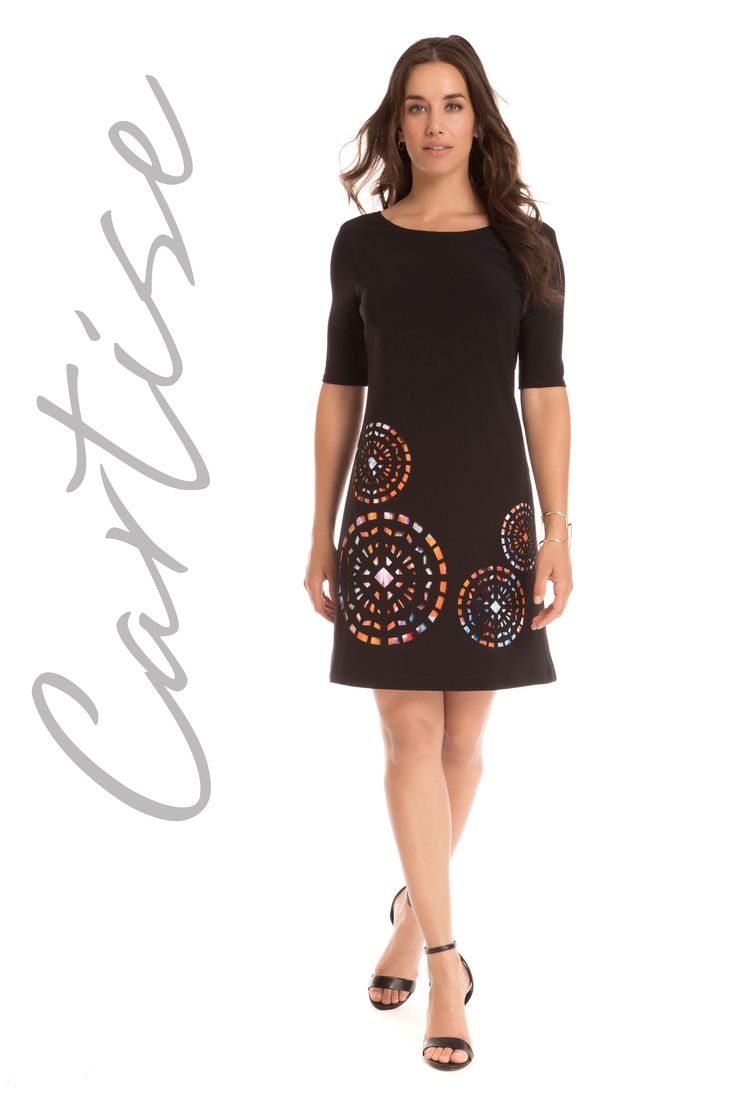 Stylish Little Black Dress with printed lining. Proudly Made In Canada