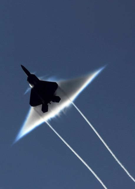 A Raptor aircraft breaks the sound barrier