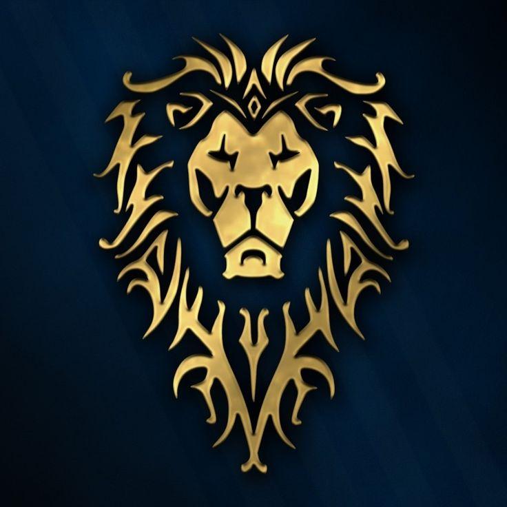 Скачать обои symbol, Warcraft the Movie, game, wild animal, king of beasts, king, Warcraft, movie, blue, World of WarCraft, humans, animal, mmorpg, cinema, film, wow, mane, lion, rpg, golden, logo, раздел фильмы в разрешении 1024x1024