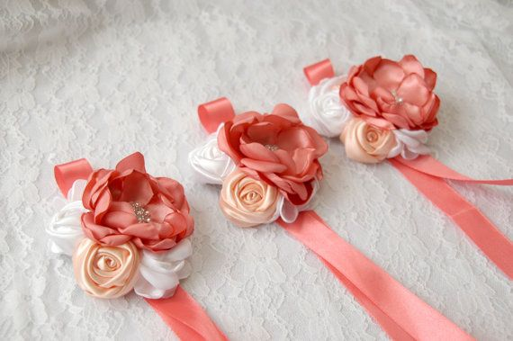 Wedding Fabric flower wrist corsage set of 3 bridal wrist by MkeFlower