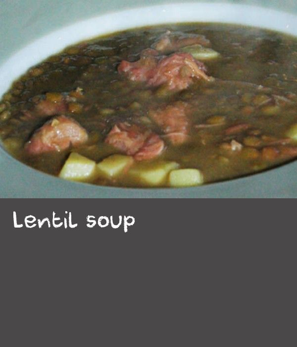 Lentil soup | Smoked pork belly or hock is the basis of the stock used to make this hearty soup. Celery, carrot and parsnip are also used, although any other good stock vegetables can be included. Traditionally eaten during the autumn harvest in the wine region of Germany, this soup recipe can be stretched depending on how many people you're feeding. This version feeds six people. You can happily make more than you need as the soup keeps well and gets better with time, simply freeze or store…