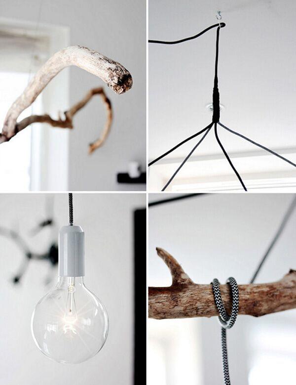 DIY! #Hanglampen aan een #tak. Op deze foto de #details. Klik voor de #volledige foto op de link naar de bron. #nature #wood #lights