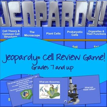 What better way to review for a unit test with a rendition of the popular game show, Jeopardy! My students really look forward to this. This is designed to cover your cells unit. Topics include: cell theory and common cell features, the microscope, plant cells, prokaryotic cells, organelles and their functions.