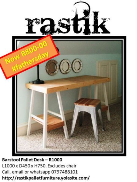 Barstool Pallet Desk – R1000  L1000 x D450 x H750. Excludes chairCall, email or whatsapp0797488101http://rastikpalletfurniture.yolasite.com/