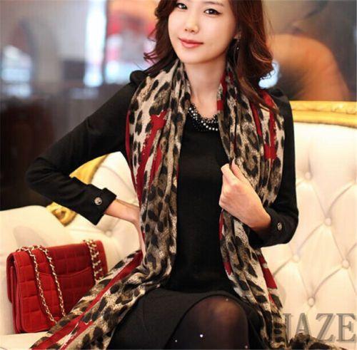 HOT-SAL-Women-Lady-Long-Wrap-Scarf-Lady-Shawl-Gauze-Stole-Heart-Pattern-Leopard