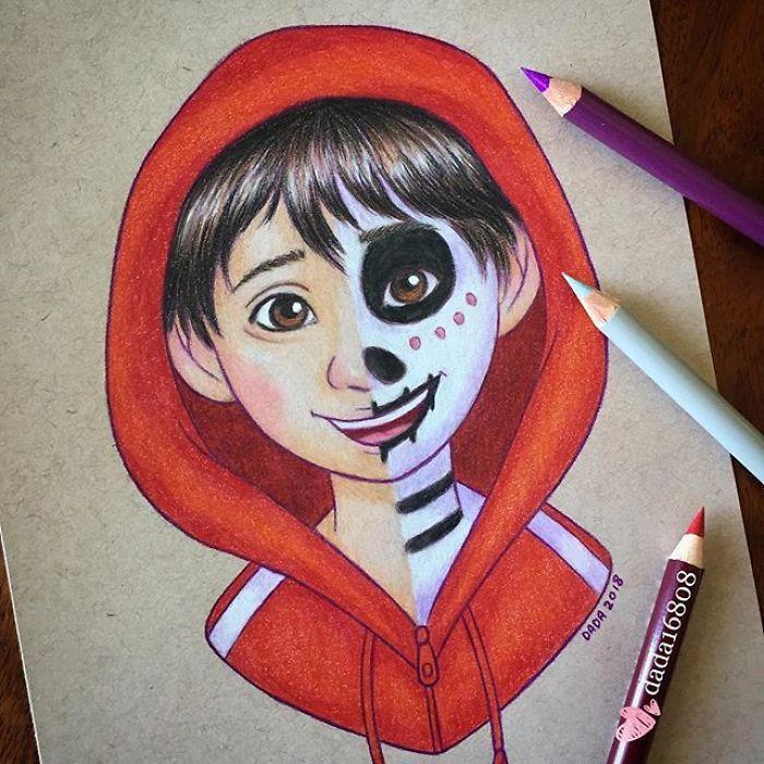 Elle mix deux personnages en un dans ses somptueux crayonnages (web page 4)