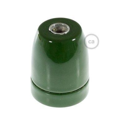 Douille en porcelaine vert culot E27 avec serre-câble.