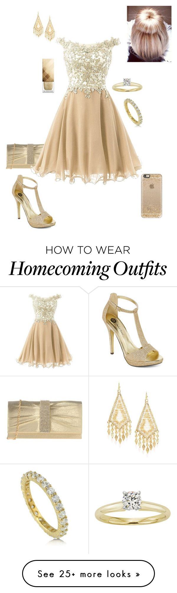 """Gold Christmas"" by briony-jae on Polyvore featuring Marina Galanti, BERRICLE, Michael Antonio, Cara, Modern Bride, Casetify and Burberry"
