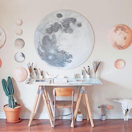 The dreamy studio of artist @stellamariabaer in the USA › via @workspacegoals on Instagram