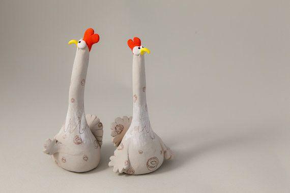 "Ceramic – Stoneware Sculpture ""Two Suspicious Chickens""  – a unique product by AnaBossa on DaWanda"