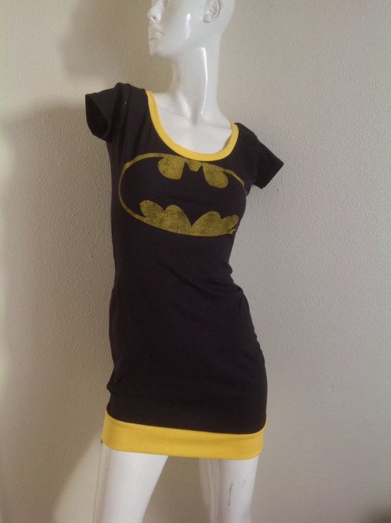 DC Comic  Batman Logo Scoop neck dress by PatchVille on Etsy, $42.00