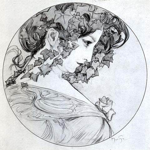 Dessin Vrouw Alfons Mucha: Tekening-Kleurplaat-Patroon-Prent *Drawing-Colouring Picture-Pattern  ~Ivy~