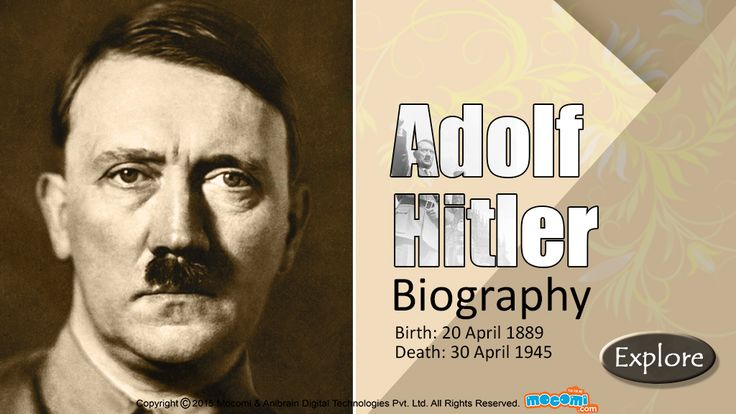 Adolf Hitler Biography - Read #AdolfHitler biography - Family Tree, Early Life, Rise to Power and decline. More short #biographies of #famouspeople, visit: http://mocomi.com/learn/culture/famous-people/biography/