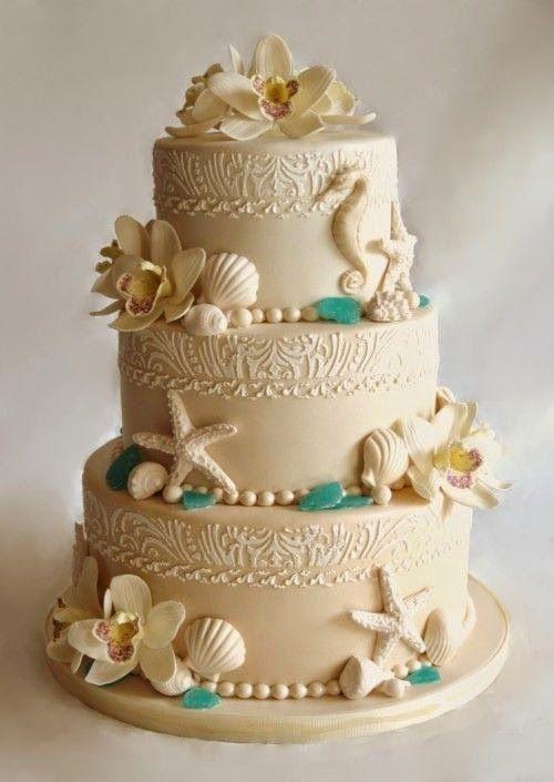 Beach Wedding Ideas For the Bride to Be: Wedding Cake. Read more: http://memorablewedding.blogspot.com/2014/03/beach-wedding-ideas-for-bride-to-be.html