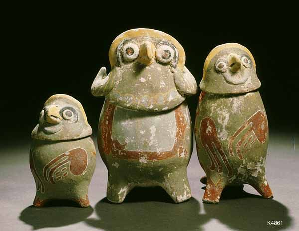 Maya. painted stucco. height 12 cm. A trio of owls. May be a reference to the messenger owls of the Popol Vuh. Said to have come from Yucatan.
