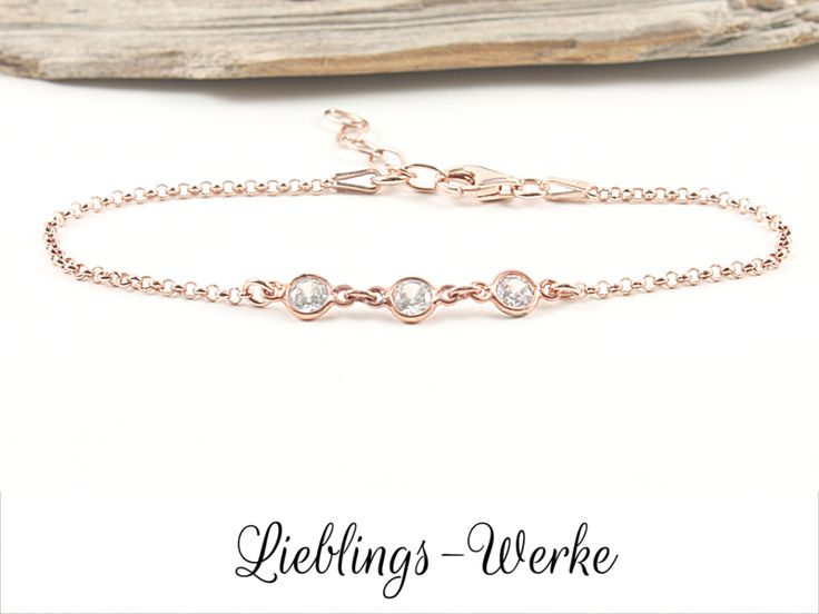 Armbänder - Girl´s best friend: Armband Silber rosévergoldet - ein Designerstück von Lieblings-Werke bei DaWanda