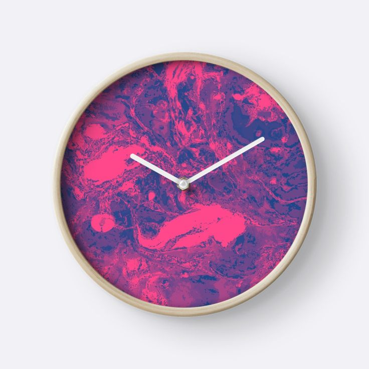 """Pink and purple marble texture."" Clocks by kakapostudio 