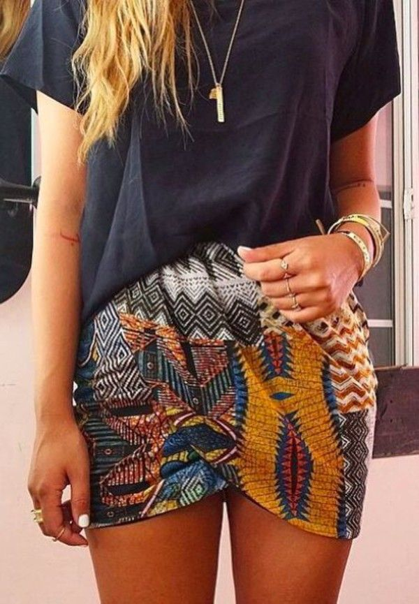 Skirt: colorful boho bohemian tribal pattern teal necklace tribal pattern colorful multicolor print