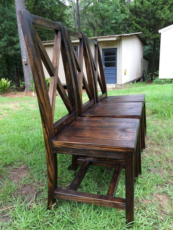 Handmade dining chairs with X back. Handmade Furniture - http://amzn.to/2iwpdj4