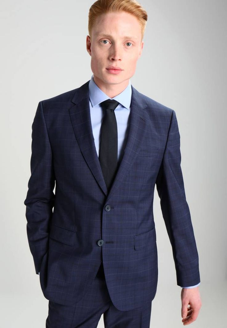 """HUGO. Suit - navy. Outer fabric material:100% wool. Pattern:Checked. Care instructions:Dry clean only. Sleeve length:long,26.0 """" (Size 40R). Back width:18.5 """" (Size 40R). jacket length:29.0 """" (Size 50). outer leg len..."""