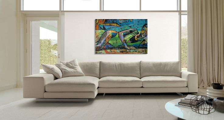 Italian modern sofa corner and contemporary painting of a woman - 'Summertime 4' by @anialuk_art