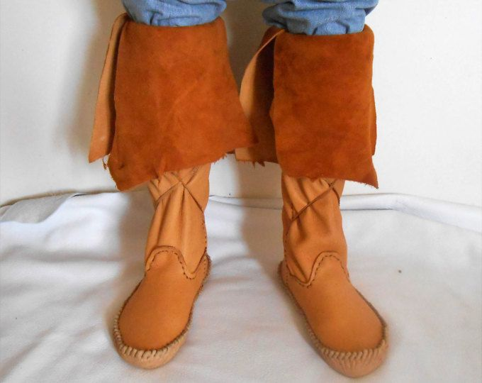 Handmade Moccasin Boots, Tall Elk Hide Moccs, Native American, Regalia, Mountain Man, Rendezvous, Hand Sewn Leather Boots, Custom Made