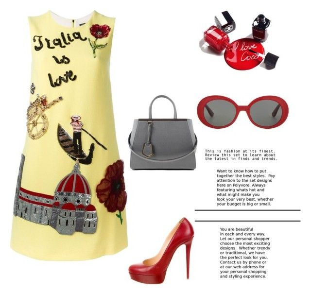 Rome in Love by danielsan on Polyvore featuring polyvore fashion style Dolce&Gabbana Christian Louboutin Fendi Yves Saint Laurent Chanel clothing