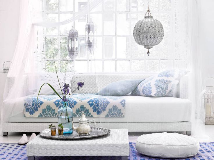 almost all white moroccan inspired living room with its moroccan