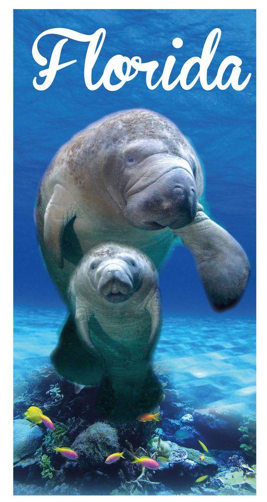 Florida Manatee Sea Cow Pup Pool Bath Beach Souvenir Towel 30x60  #IslandGear