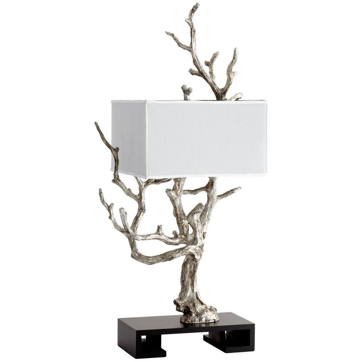 Silver Tree Sculpture Table Lamp
