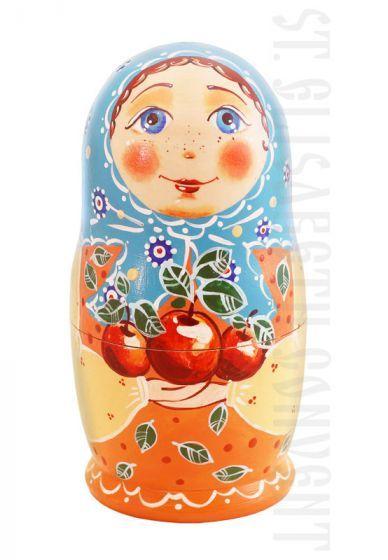 Apples Nesting Doll Set of 5 $40.00, Catalog of St Elisabeth Convent. Made to order. #GiftIdea #gift #present #PresentandCharity #Charity #toy #kids #matryoshka #nestingdolls #handmade #woodentoys #ecotoys #craft #catalogofogooddeed #catalogofstelisabethconvent