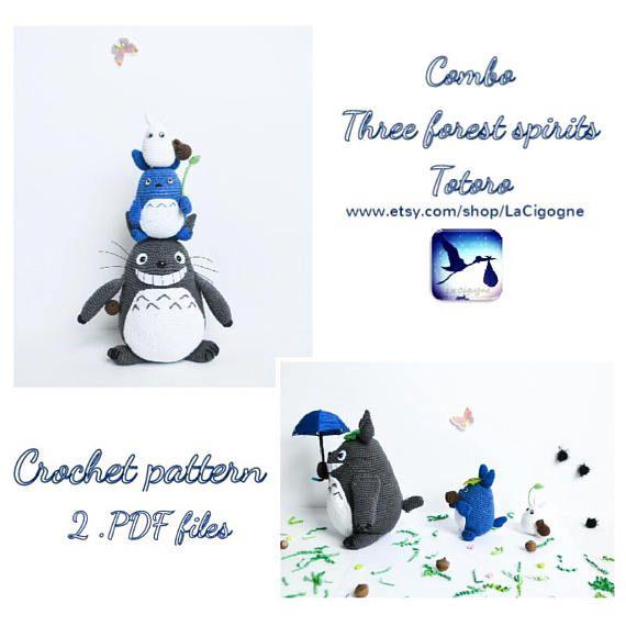 Combo Totoro amigurumi pattern PDF file Tree forest spirits #totoro #crochetpattern #amigurumipattern
