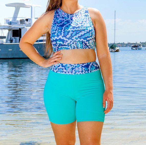 Women's Swimsuit Shorts // Green High Waisted by AnnaCarlaSwimwear