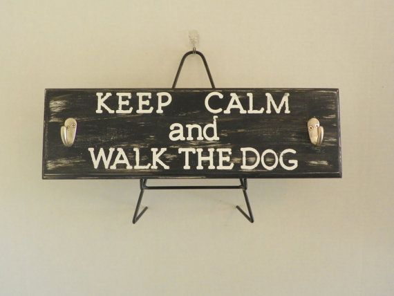 Painted Leash Holder Wood sign with Leash Hooks by KyMadeCrafts, $20.00  -  etsy, walk the dog, leash, sign with hooks.  project?  cute.           lj