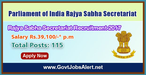 Rajya Sabha Secretariat Recruitment 2017 - Hiring 115 Post Parliamentary Interpreter and other Posts, Salary Rs.39,100/- : Apply Now !!!  The Parliament of India Rajya Sabha Secretariat Recruitment Cell – Rajya Sabha Secretariat Recruitment 2017 has released an official employment notification inviting interested and eligible candidates to apply for the positions of Parliamentary Interpreter (English/Hindi), Parliamentary Interpreter (Odia), Assistant Legislative/Committe