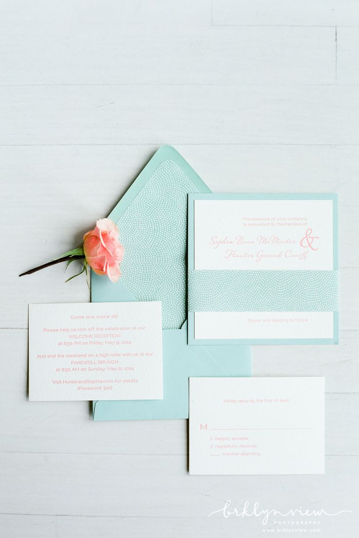 Light Blue Stationery Suite with Peach Accents by Paper Source.