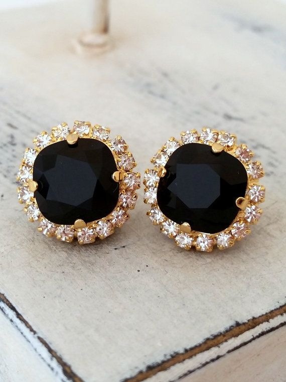 Black Swarovski stud earrings Bridal earrings by EldorTinaJewelry