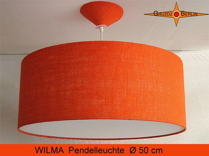 Hier unsere beliebte Loungeleuchte WILMA Ø 50 cm Pendellampe nur mit Diffusor und ohne Lichtrand, orange Jute.
